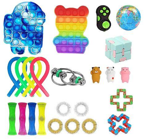 Kit com 24 peças Push Pop Bubble Sensory Fidget Toy Anti Stress VI - Alta qualidade