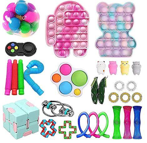 Kit com 30 peças Push Pop Bubble Sensory Fidget Toy Anti Stress VIII - Alta qualidade