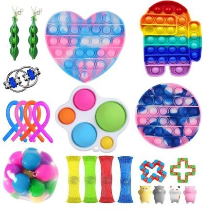 Kit com 22 peças Push Pop Bubble Sensory Fidget Toy Anti Stress X - Alta qualidade