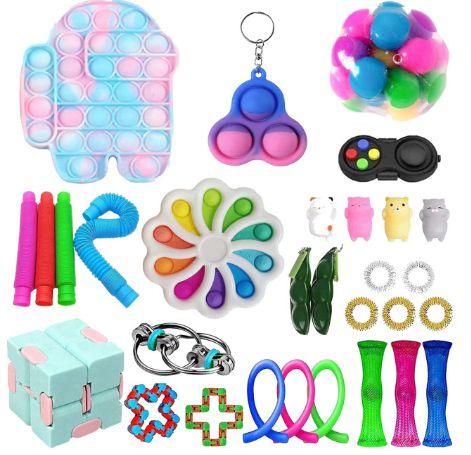 Kit com 30 peças Push Pop Bubble Sensory Fidget Toy Anti Stress XIV - Alta qualidade