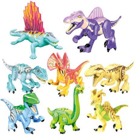 Kit com 8 Dinossauros Jurassic Park Modelo 1 - Blocos de Montar