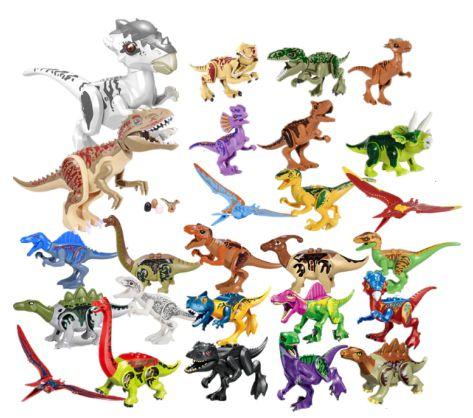 Kit com 2 Dinossauros Grandes + 24 Dinossauros  Pequenos Jurassic Park - Blocos de Montar