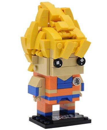 Brickheadz Goku Super Sayajin + 179 peças Dragon Ball - Blocos de montar 11Cm x 5,5Cm x 6Cm