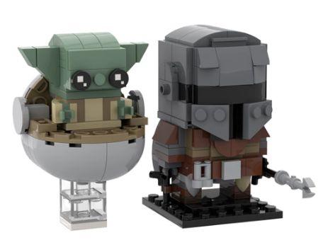 Brickheadz Baby Yoda e Mandalorian +226 peças Star Wars - Blocos de montar 15Cm x 10Cm x 5Cm
