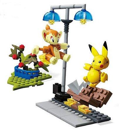 Pikachu VS. Chimchar 127 peças Pokémon - Mega Construx