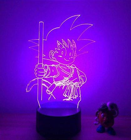 Luminária 3D Kid Goku 07 Cores - Dragon Ball