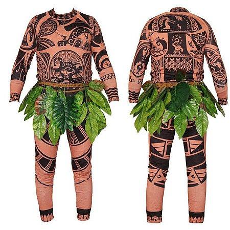 Fantasia Cosplay Adulto Havaiano Maui Moana