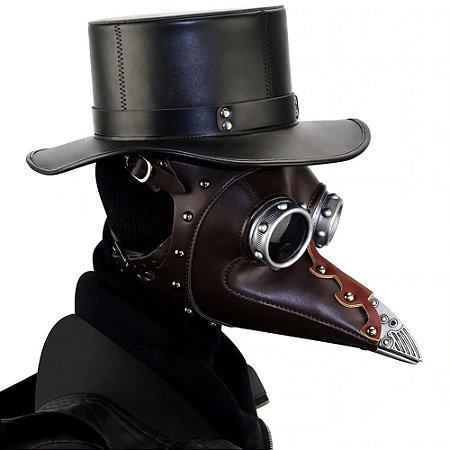 Máscara Médico da Peste Negra em Couro com chapéu - Fantasias
