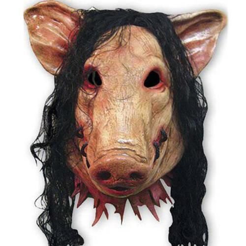 Máscara Látex Porco Assustador Halloween com Peruca - Fantasias