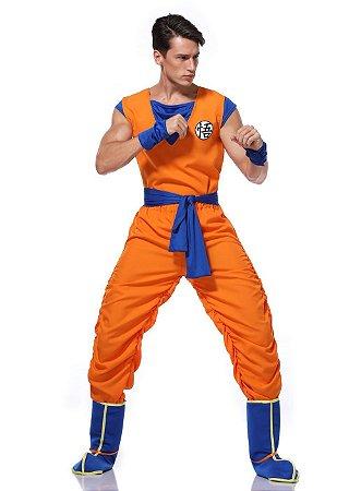 Cosplay Goku com Cabelo Fantasia Dragon Ball Completa - Adulto