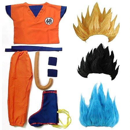 Cosplay Goku com Cabelo Fantasia Dragon Ball Completa - Infantil