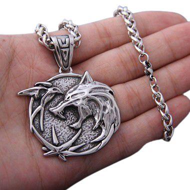 Colar Medalhão Geralt The Witcher Netflix Escola do Lobo aço Inox Genuíno MODELO 2