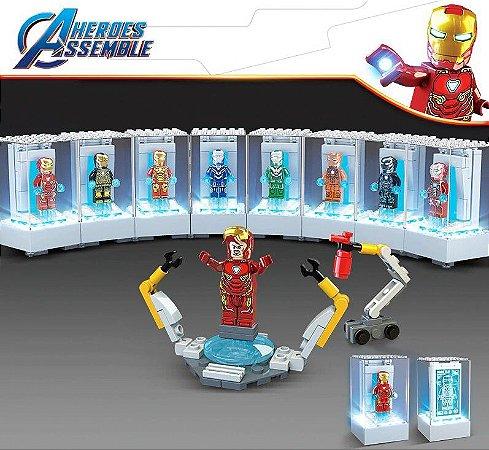 Blocos de Montar Iron Man 8 em 1 Com LED + 8 Personagens - Marvel