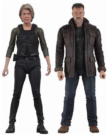 Kit 2 Action Figures Terminator Dark Fate T-800 e Sarah Connor - Neca