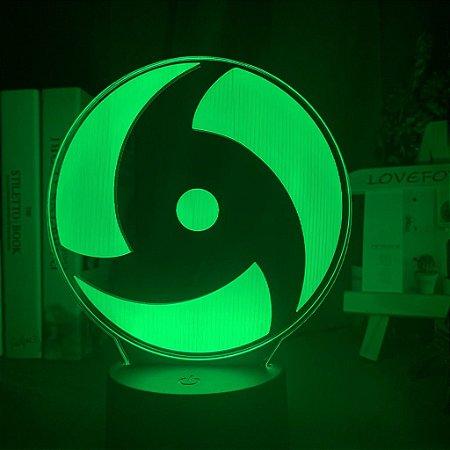 Luminária LED 3D Sharingan Clã Uchiha 16 Cores com controle remoto - Naruto Shippuden