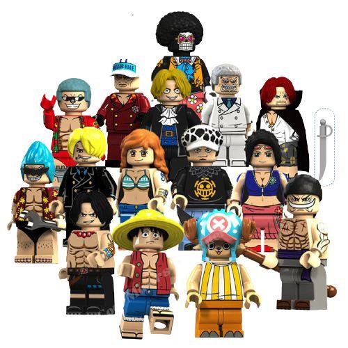 Kit com 15 Personagens One Piece - Blocos de Montar