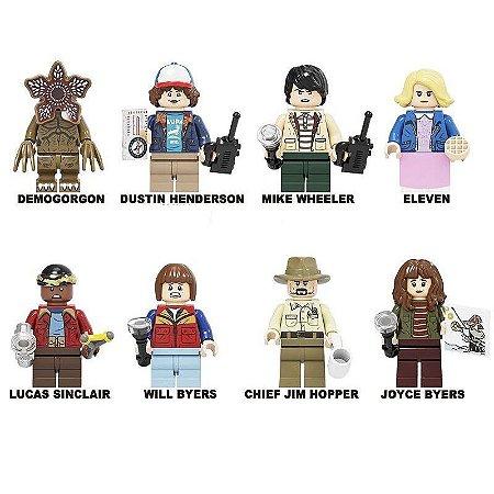 Kit com 8 personagens Stranger Things - Blocos de Montar