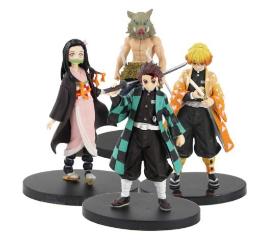 Kit com 4 Personagens Demon Slayer - Kimetsu No Yaiba