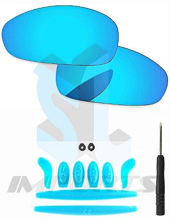 8d8c8e098 Lentes Ice Thug e Kit de Borracha Azul Claro - Para Oakley Juliet ...