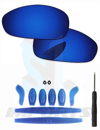 dbd7e63b42435 Lentes Neon Blue e Kit de Borracha Azul Escuro - Para Oakley Juliet ...