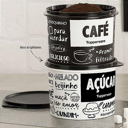 Tupperware Caixa Café e Açúcar PB Kit 2 peças Preto e Branco