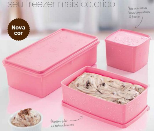 Tupperware Kit 3 peças Freezer Rosa Quartzo