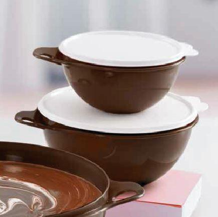 Tupperware Kit 2 peças Criativa Chocolate Tampa Branca