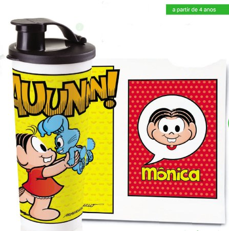 Tupperware Copo com Bico Mônica 470 ml Turma da Mônica