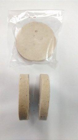 Disco feltro branco Ø 70mm - Pacote com 2 unidades