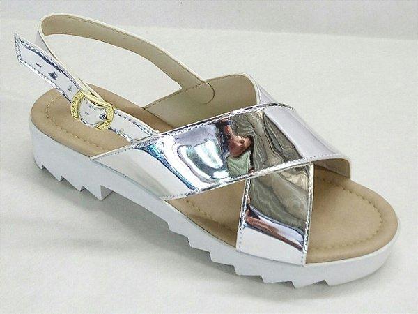 Sandalia Tratorada X Prata