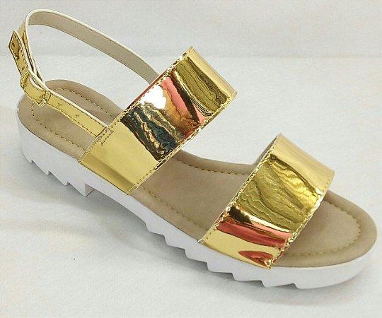 Sandália Tratorada 2 Tiras Dourada