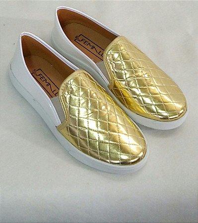 Slipper Branco com Dourado