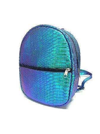 Mini mochila sereia holográfica
