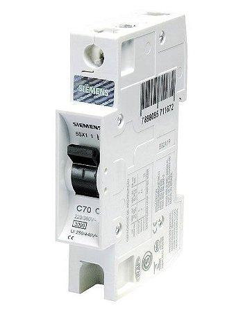 Disjuntor Monopolar Curva C 70A 220/380V 3KA Siemens