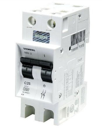 Disjuntor Siemens 5SX1 Bipolar Curva C 25A 220/380V 3KA