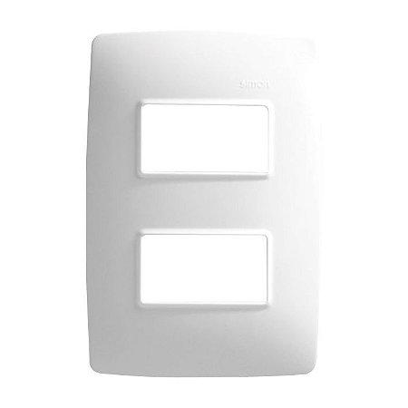 Simon 30 Placa 4 X 2 - 2 Postos Separados Branco + Suporte