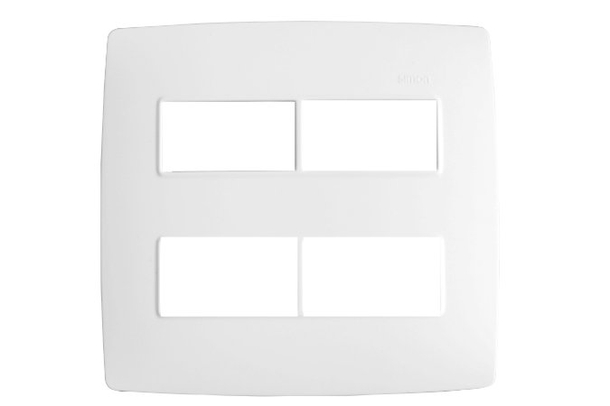 Simon 30 Placa 4 X 4 - 4 Postos Separados Branco c/ Suporte
