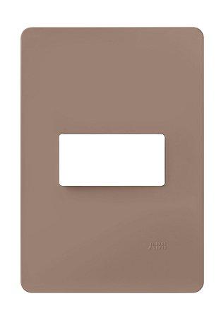 Placa 4 X 2 - 1 Posto Horizontal Chocolate ABB Unno Life