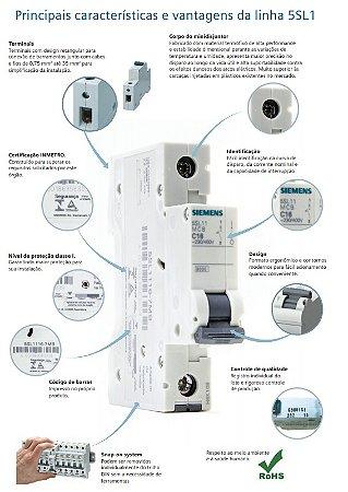 Disjuntor Siemens 10A 1P Curva C 5SL1 110-7