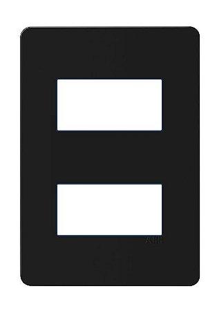 Placa 4x2 - 2 postos separados ABB Unno Life Preta