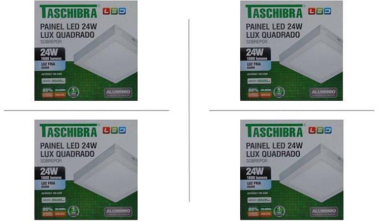 Kit 4 Paineis de led Taschibra 24W Lux quad sobr 6500K BR