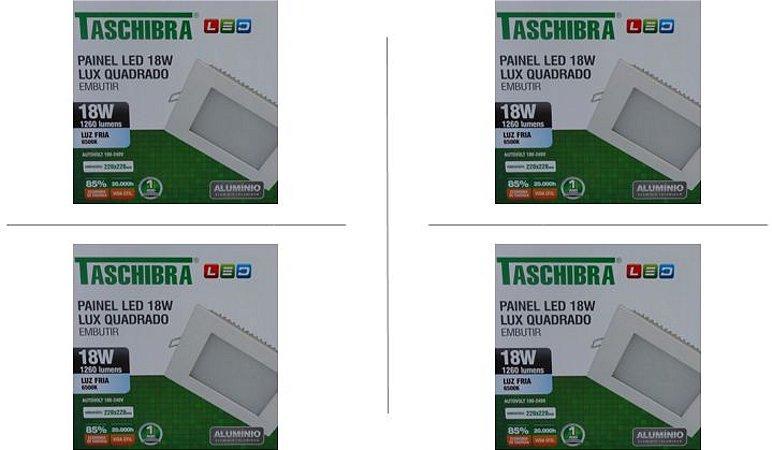 Kit 4 Paineis de led Taschibra 18W Lux quad emb 6500K BR
