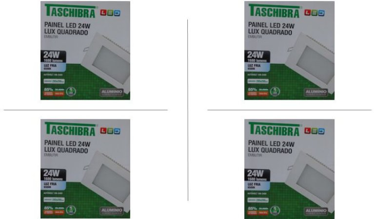 Kit 4 Paineis de led Taschibra 24W Lux quad emb 6500K BR