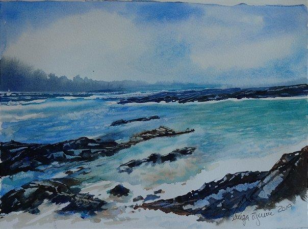 Pintura Original Em Aquarela - Mar Da Costa Brava-Espanha 28x20 cm - Tela/Quadro Para Decoração Da Sua Casa