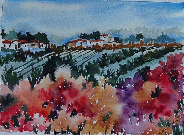 Pintura Original Em Aquarela - Campo Repleto De Flores II 28x20 cm - Tela/Quadro Para Decoração Da Sua Casa