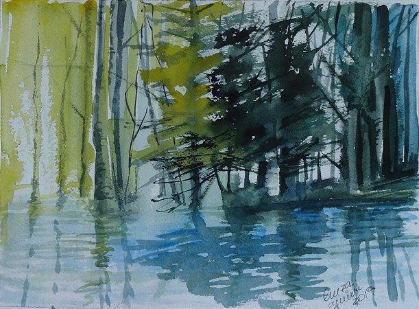 Pintura Original Em Aquarela Bosque Com Pinheiros 28x20cm - Tela/Quadro Para Decoração Da Sua Casa