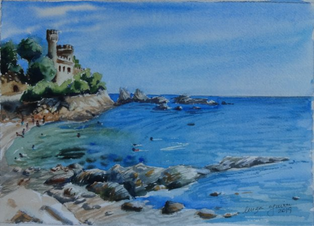Pintura Original Em Aquarela - Costa Brava-Espanha 28x20 cm - Tela/Quadro Para Decoração Da Sua Casa