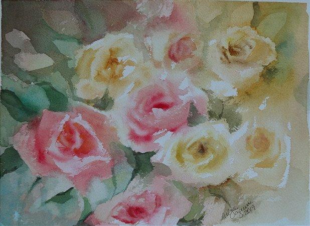 Pintura Original Em Aquarela - Bouquê de Flores  28x20 cm - Tela/Quadro Para Decoração Da Sua Casa