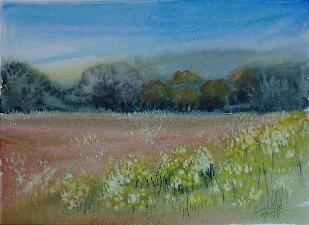 Pintura Original Em Aquarela Campo Com Flores IV 29x21cm- Tela/Quadro Para Decoração Da Sua Casa