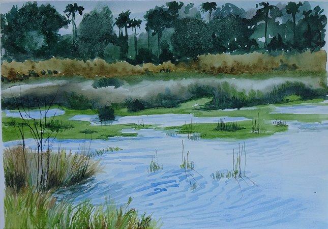 Pintura Original Em Aquarela - Lago Paisagem III 39x27 cm - Tela/Quadro Para Decoração Da Sua Casa